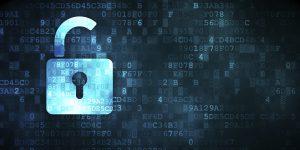 Safety concept: Opened Padlock on digital background